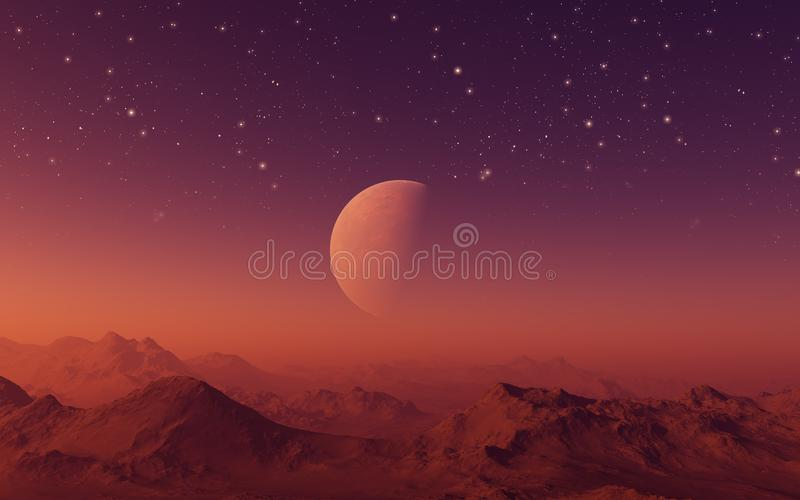 3d rendered Space Art: Alien Planet with red skies and stars. 3d rendered Space Art: Alien Planet - A Fantasy Landscape with red skies and stars stock illustration