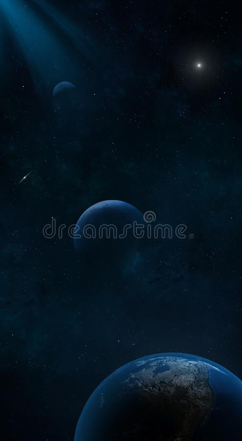 3d rendered Space Art: Alien Planets - The earth and two other planets.  vector illustration