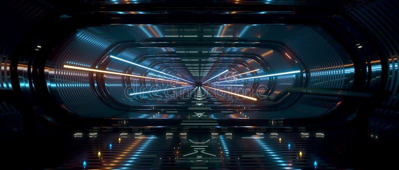 Empty Dark Spaceship interior bridge corridor backfround royalty free illustration