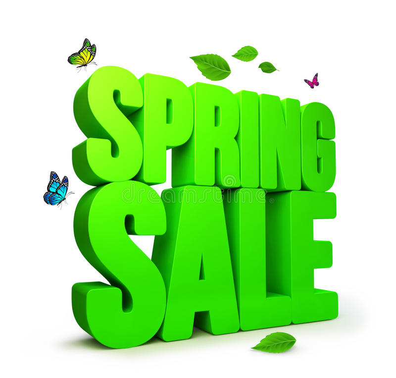 3D Rendered Spring Sale Word with Clipping Paths. 3D Rendered Spring Word in White Background with Clipping Paths vector illustration