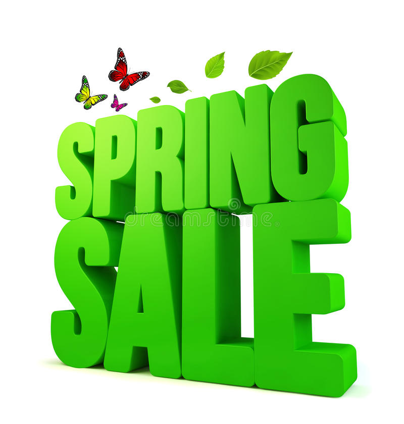 3D Rendered Spring Sale Word with Clipping Paths. 3D Rendered Spring Word in White Background with Clipping Paths stock illustration