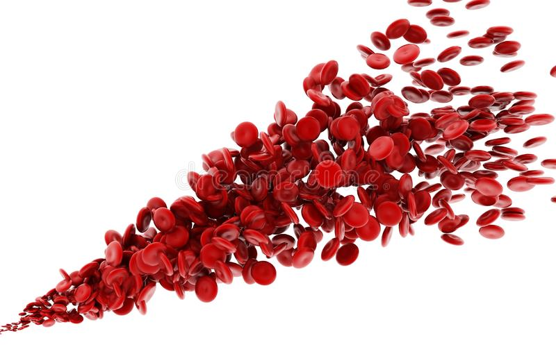 3d rendered streaming blood cells on white background vector illustration