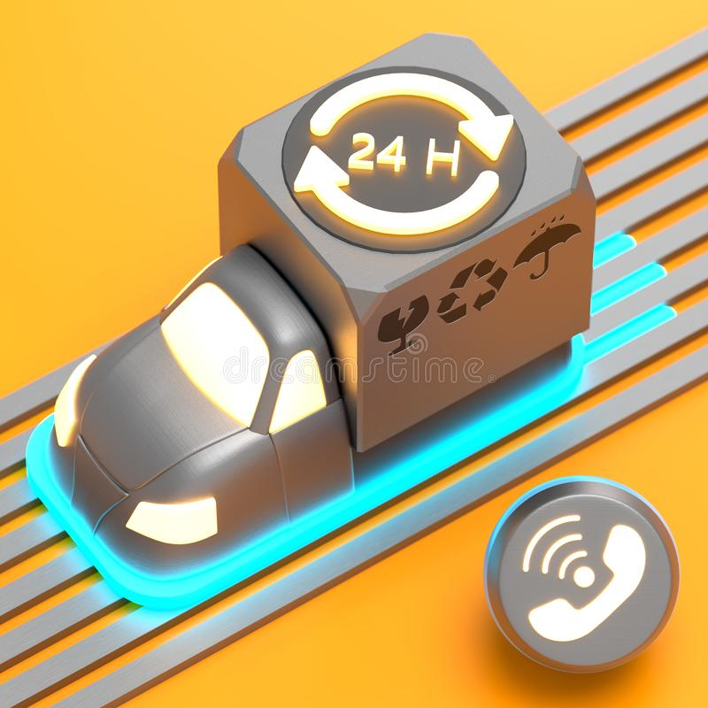 3d rendered stylised delivery express truck. With cargo and delivery symbols on it with call symbol and glow effects on orange background royalty free illustration