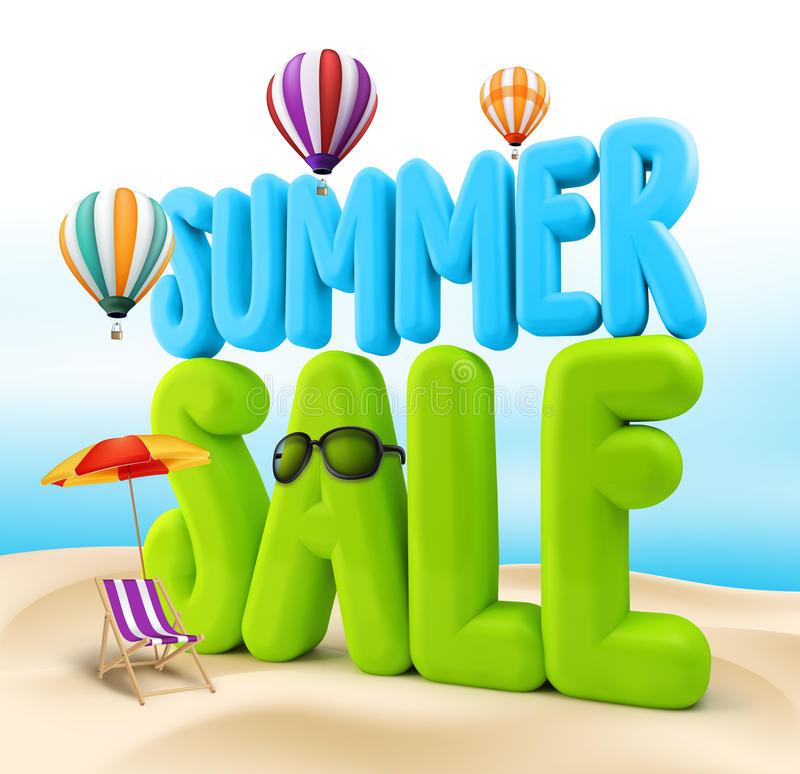 3D Rendered Summer Sale Text Title for Promotion. In Beach Sea Shore with Flying Balloons, Colorful Umbrella, Sunglasses and Beach Chair Illustration stock illustration