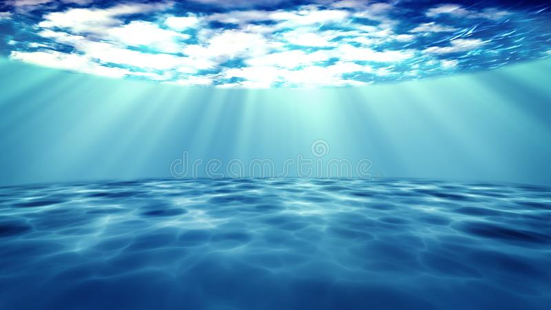 3D rendered of sun light rays under water stock illustration