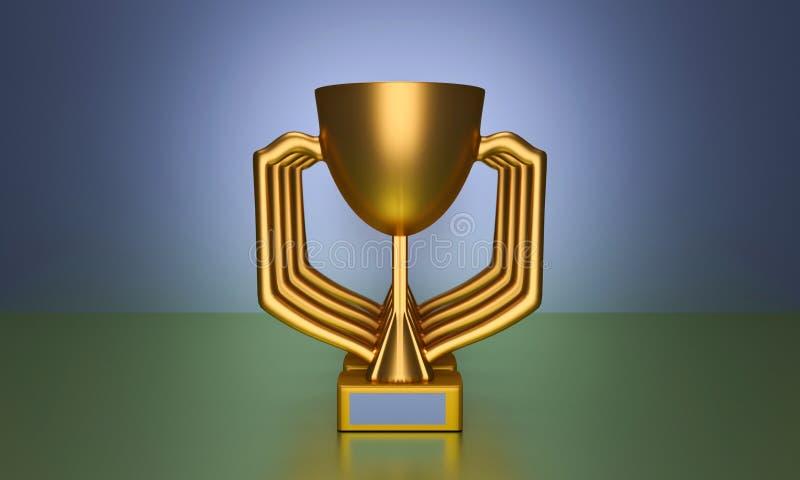 3d rendered trophy. 3d rendered golden color trophy vector illustration