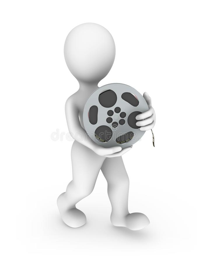 3d rendered white human with a film. 3d rendered white man with a film in hands isolated on white background stock illustration