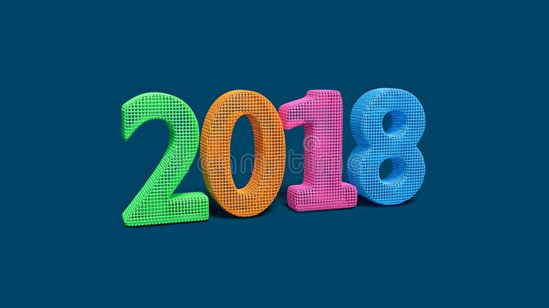 3d rendered year 2018 vector illustration
