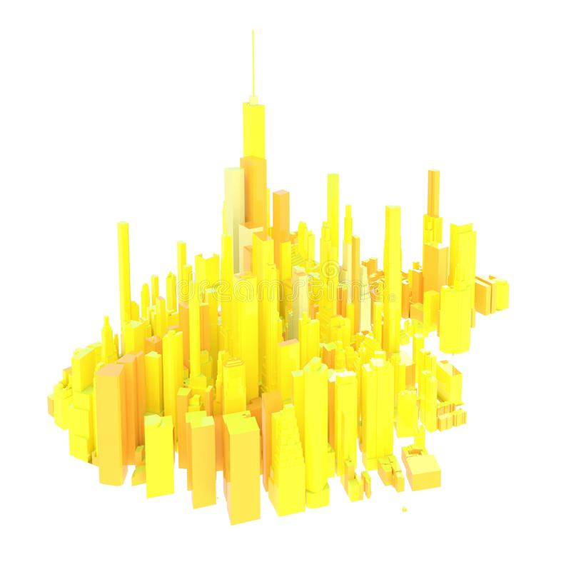 3d rendered yellow skyline isolated vector illustration