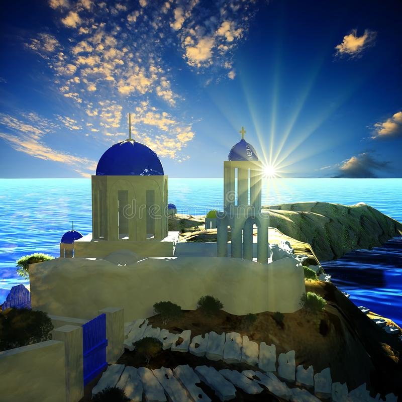 3d rendering ładny widok UE z wschód słońca i buliding obrazy royalty free