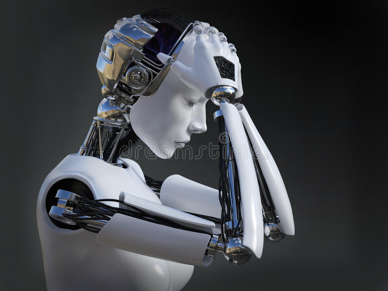 3D rendering żeński robota płaczu nr 2 royalty ilustracja