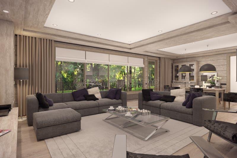 3D rendering żywy pokój dom na wsi ilustracja wektor