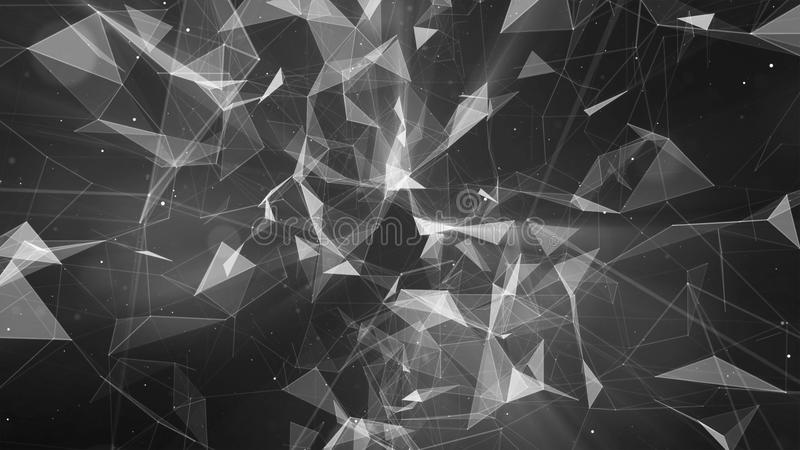3D rendering abstract background on the basis of Plexus. Technological surfaces are intertwined in a futuristic geometric and scie royalty free illustration