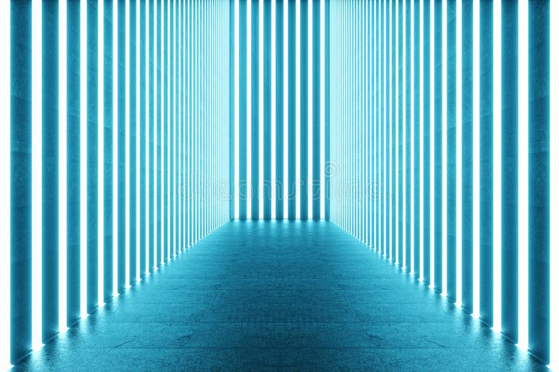 3D rendering Abstract blue room interior with blue neon lamps. Futuristic architecture background. Mock-up for your royalty free illustration