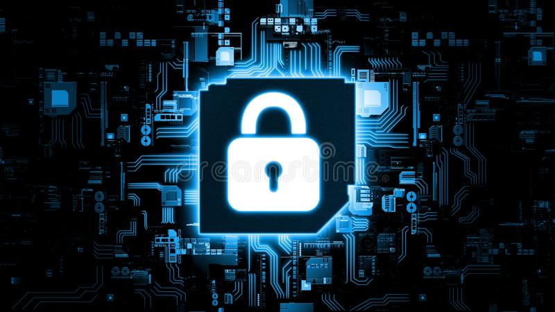 3D Rendering of abstract concept of global internet security using artificial intelligence. royalty free stock photo