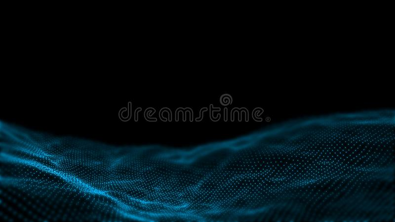 3D Rendering of abstract dot waves. Concept for big data, high technology background, machine learning, artificial intelligence royalty free illustration