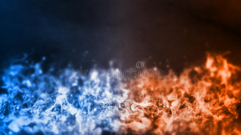 3D Rendering of abstract Fire and Ice element against vs each other background. Heat and Cold concept.  stock images