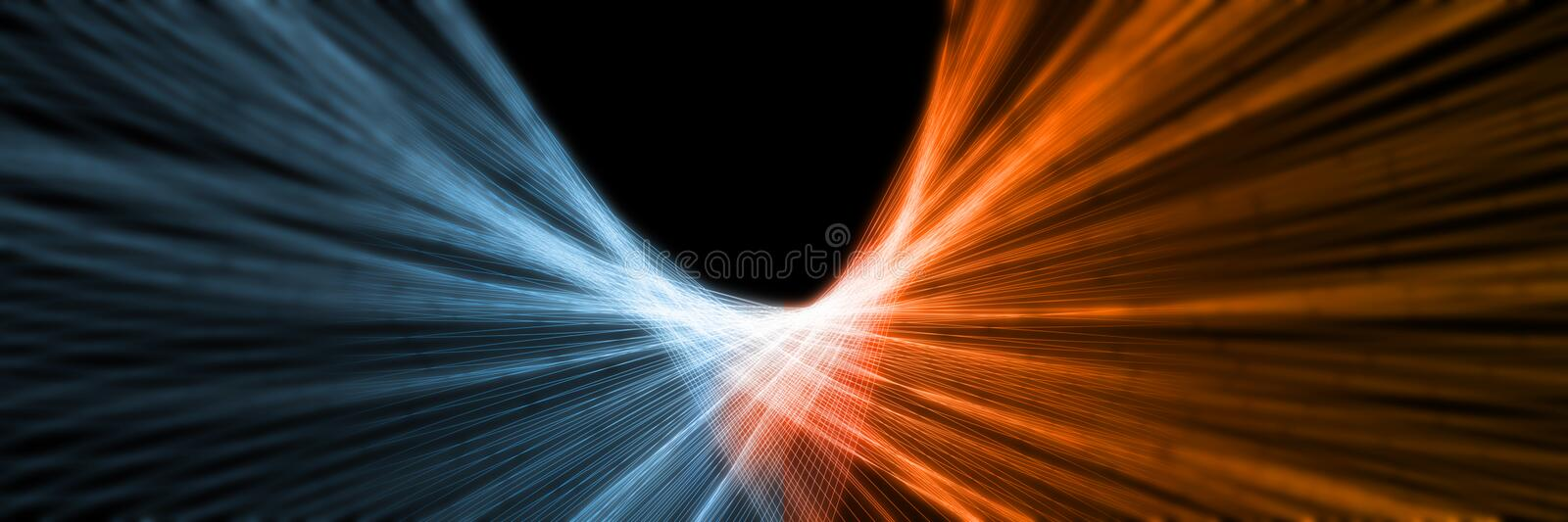 3D Rendering of abstract Fire and Ice lines element against vs each other background. Heat and Cold concept stock illustration