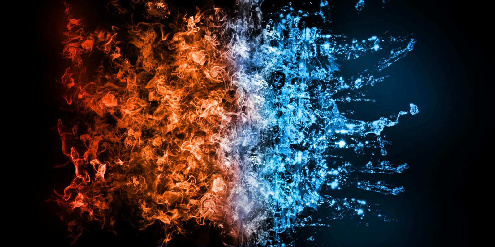 3D Rendering of abstract Fire and Iced-water element against vs each other background. Heat and Cold concept.  vector illustration