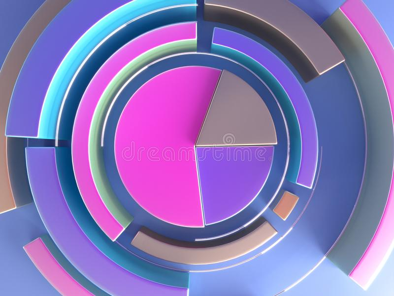 3d rendering abstract geometric background. Diagram shape. Modern minimalistic mock up, blank template. Concept for credit score information and financial royalty free illustration