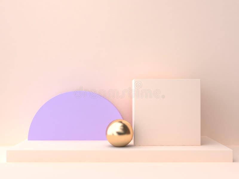 3d rendering abstract geometric shape blank podium cream violet-purple wall scene stock illustration
