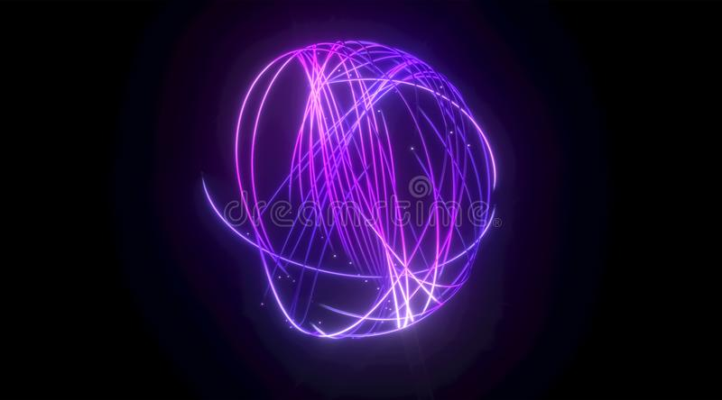 Purple lighting lines with glow. Virtual reality, futuristic violet neon light. 3d rendering abstract geometric sphere shape on black background. Purple lighting vector illustration