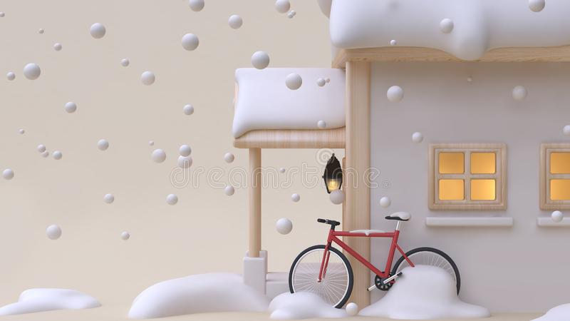 3d render abstract house wood toy cartoon style with red bicycle window light snow winter new year concept minimal cream backgr stock illustration