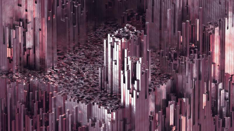 3D rendering abstract rose quartz blocks background with shiny reflection stock illustration