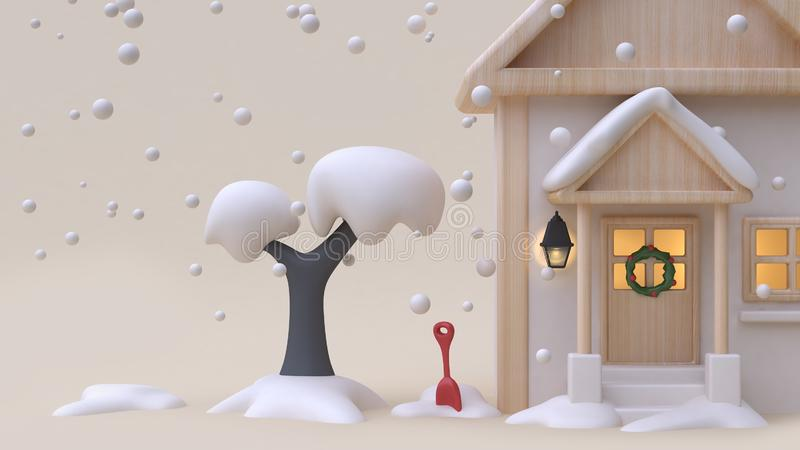 3d render abstract nature background with snow tree house wood toy cartoon style winter snow new year concept minimal cream bac stock illustration