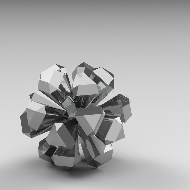 3d rendering abstract shapes. On grey background vector illustration