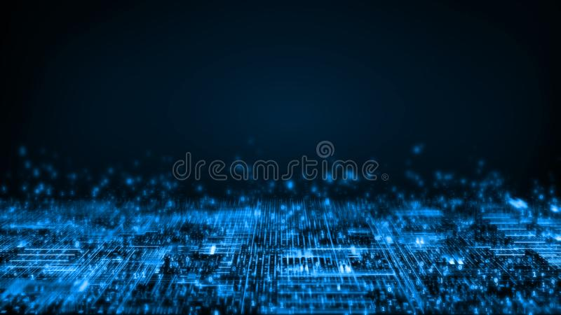 3D Rendering of abstract technology background. Computer circuit dots and blur binary data. For deep machine learning stock illustration