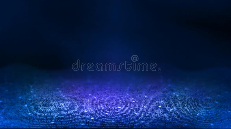 3D Rendering of Abstract technology background. Computer programming script software coding on blur glowing binary style. stock photo