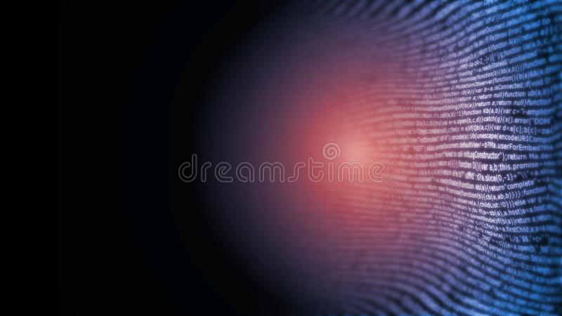 3D Rendering of Abstract technology background. Computer programming software coding with bug defect. For Artificial intelligence, Big data, Deep machine vector illustration