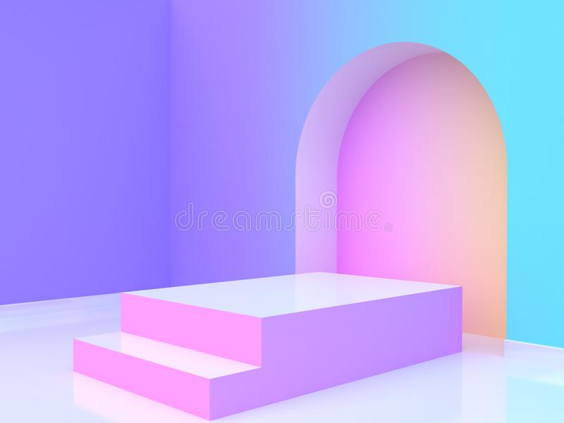 3d rendering abstract violet-purple blue yellow pink gradient wall-room blank podium. Abstract violet-purple blue yellow pink gradient wall-room blank podium 3d vector illustration