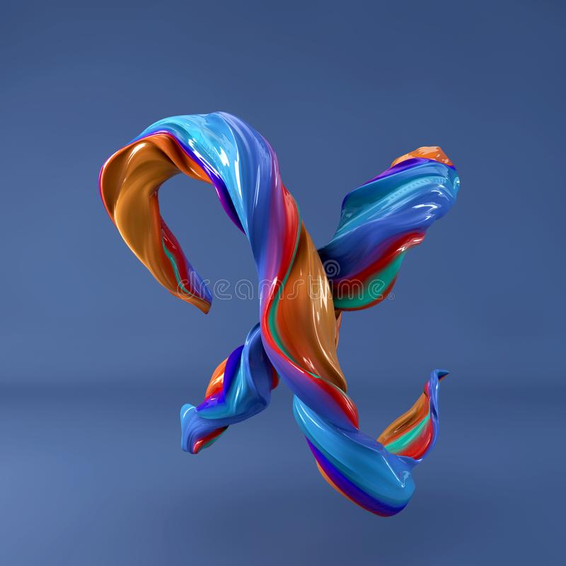 3d rendering of isolated letter. Wavy dabs of colorful paint by calligraphy brush in space. Three dimensional strokes. 3d rendering of abstract wavy dabs of royalty free illustration