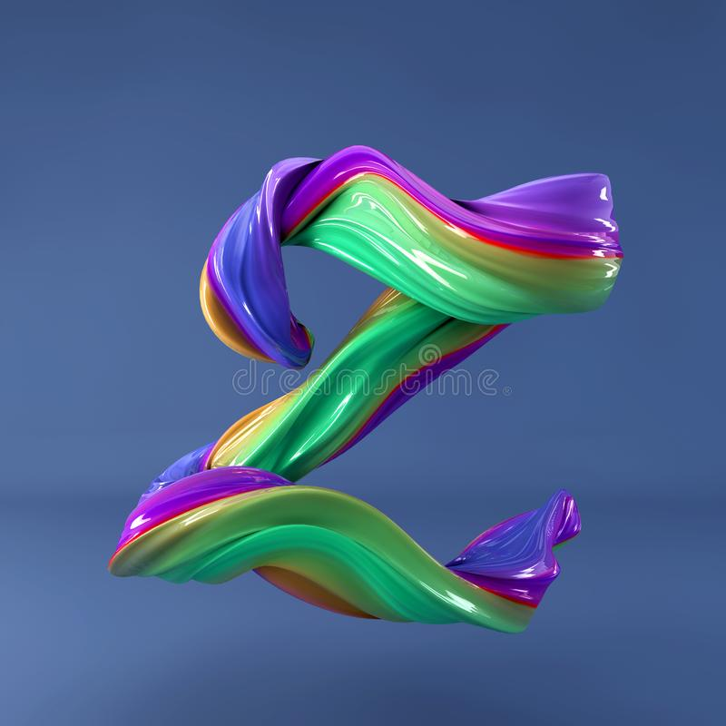 3d rendering of isolated letter. Wavy dabs of colorful paint by calligraphy brush in space. Three dimensional strokes. 3d rendering of abstract wavy dabs of vector illustration