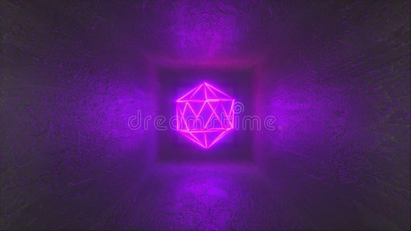 3D-rendering, abstracte achtergrond, gloeiende neonlijnen, computer gegenereerde fluorescerende neon Platonic in vierkante ruimte stock illustratie