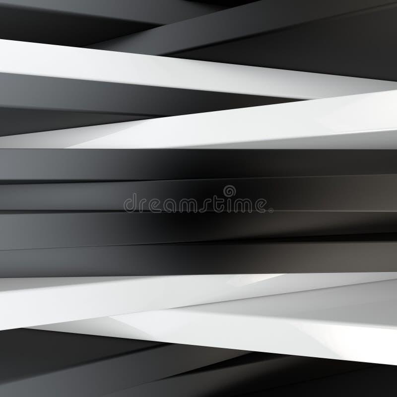 3d rendering abstrakcjonistyczny skład z mnóstwo czarny i biały barami royalty ilustracja