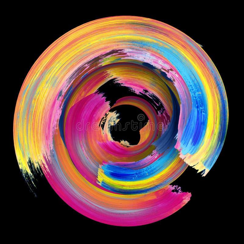 3d rendering, abstrakt przekręcający szczotkarski uderzenie, farby pluśnięcie, splatter, kolorowy okrąg, artystyczna spirala, żyw royalty ilustracja