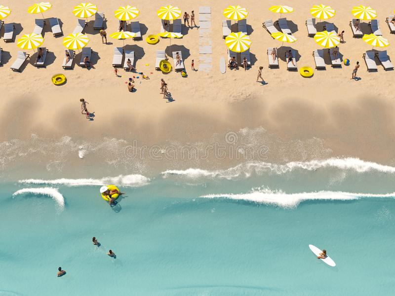 Aerial top view on the beach with lots of beach umbrella. 3D rendering vector illustration