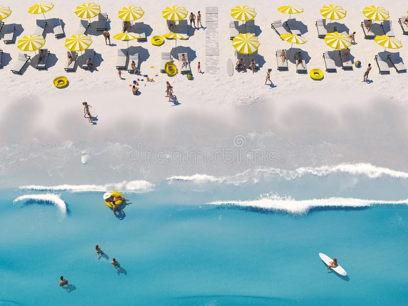 Aerial top view on the beach with lots of beach umbrella. 3D rendering stock illustration