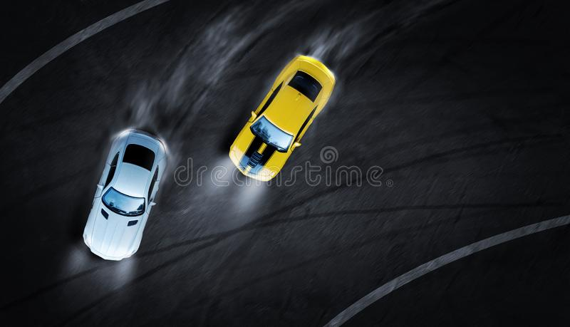 3D rendering aerial top view two cars drifting battle the night time on race track. Two race cars view from above vector illustration