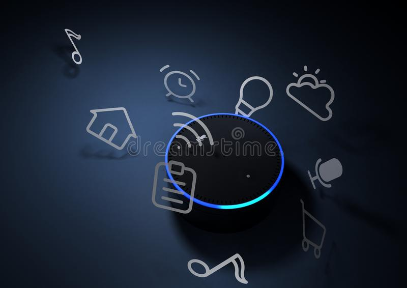 3d rendering of Amazon Echo voice recognition system royalty free illustration