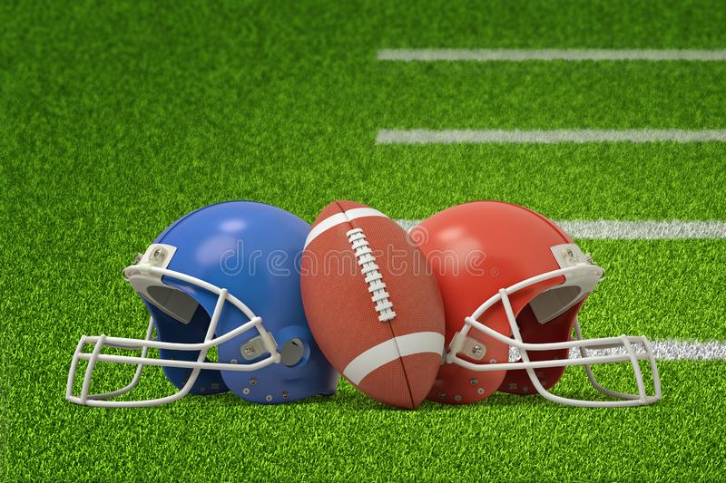 3d rendering of american football ball and two helmets on green field background stock photos