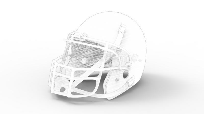 3d rendering of an american football helmet isolated in white studio background. 3d rendering of an american football helmet isolated in a white studio royalty free illustration