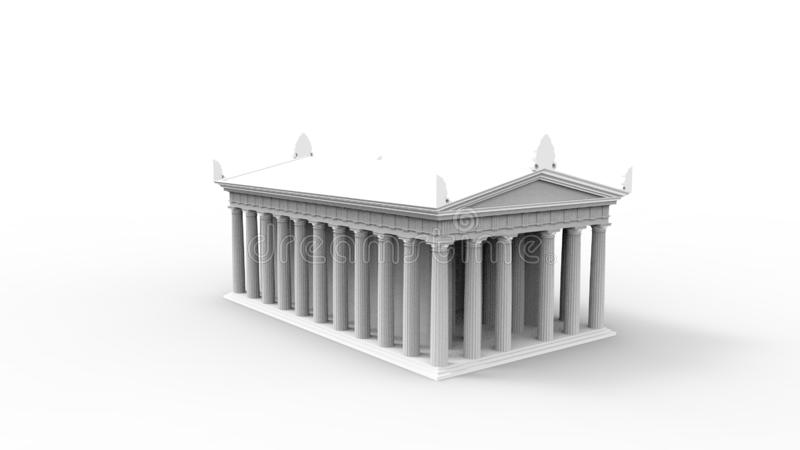 3d rendering anchient grecka świątynia odizolowywająca w białym pracownianym tle ilustracja wektor