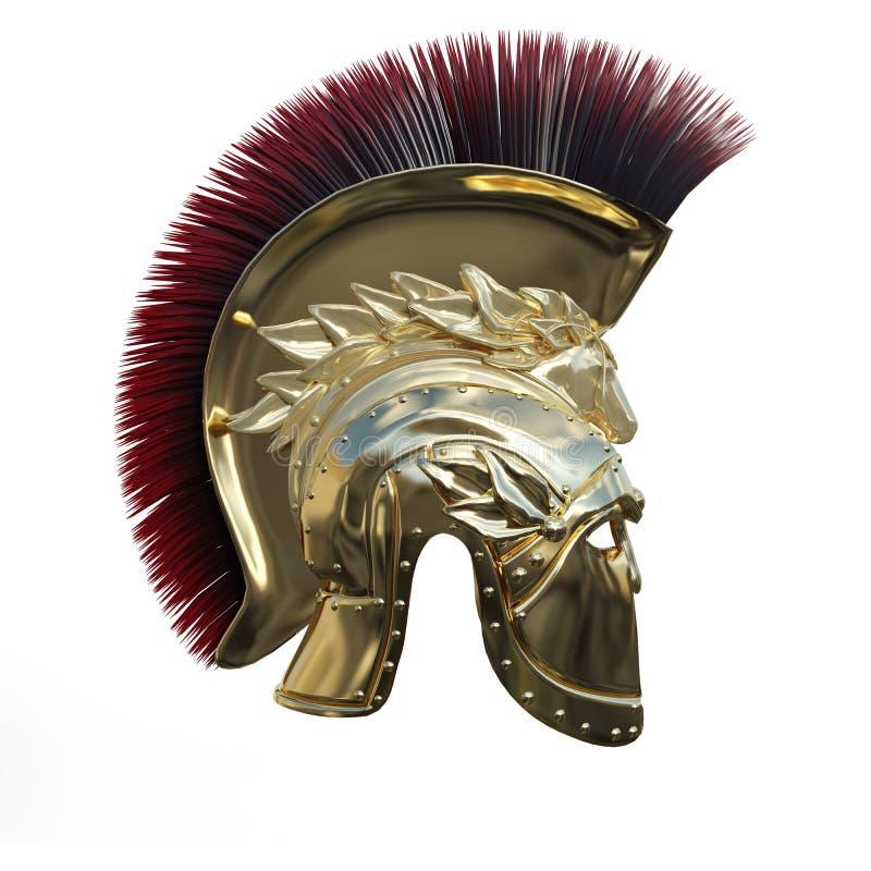 3D Rendering Ancient Greek Helmet on White royalty free illustration