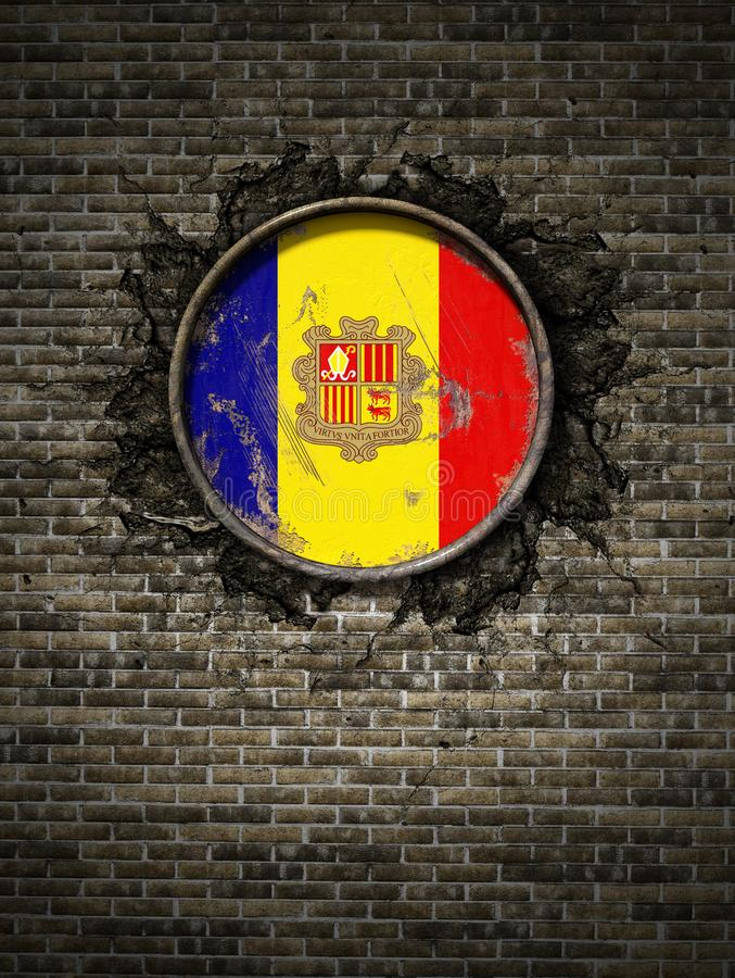 Old Andorra flag in brick wall. 3d rendering of an Andorra flag over a rusty metallic plate embedded on an old brick wall royalty free illustration