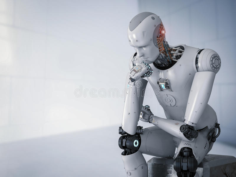 Robot sit down and thinking stock image