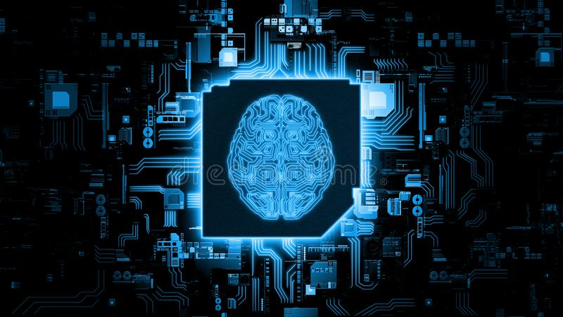 3D Rendering of artificial Intelligence hardware concept. Glowing blue brain circuit on microchip on computer motherboard. For stock trading, financial stock photos